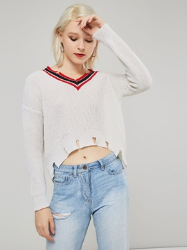 Slim V Neck Ripped Short Women's Sweater