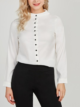 OL Stand Collar Slim Plain Women's Shirt