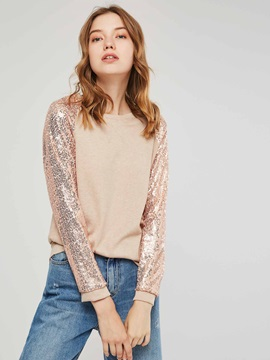 Sequins Long Sleeve Round Neck Women's Sweatshirt