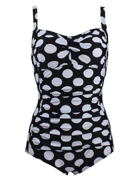Plus Size Polka Dots One Piece Bathing Suit