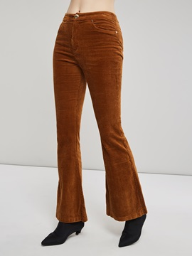 One Button Straight Full Length Women's Casual Pants