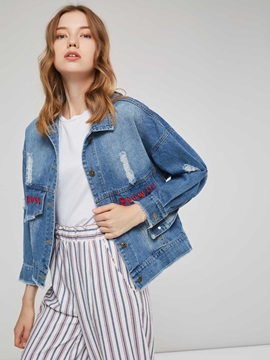 Denim Hole Lapel Letter Women's Jacket