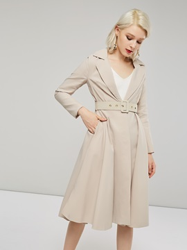 Notched Lapel Belt Mid Length Women's Trench Coat