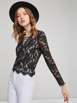 Lace Two layers See-Through Women's Blouse