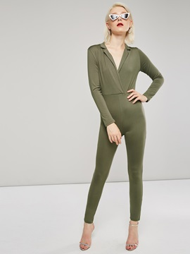 Sexy Deep V Long Sleeve Skinny Women's Jumpsuit