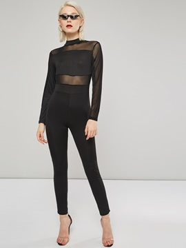 Mesh See-Through Patchwork Skinny Women's Jumpsuit