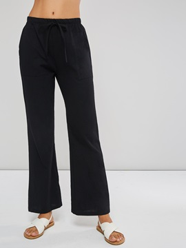 Linen Loose Pockets Plain Women's Casual Pants