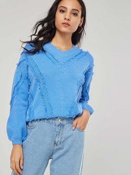Lantern Sleeve Solid Color Ripped Women's Sweater