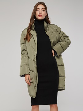 Turtleneck Zipper Plain Women's Long Cotton Coat