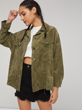 Corduroy Army Green Loose Women's Jacket