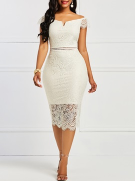 Slash Neck Backless Hollow Women's Lace Dress