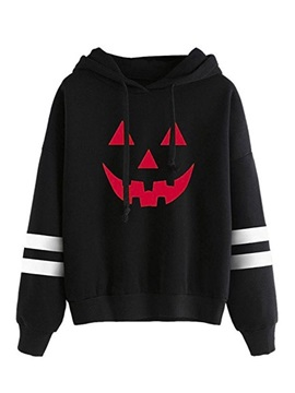 Demon Slim Print Striped Women's Hoodie