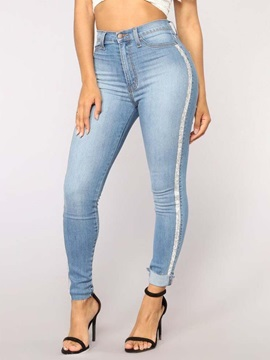 Skinny Side Stripe Plain High Wasit Women's Jeans