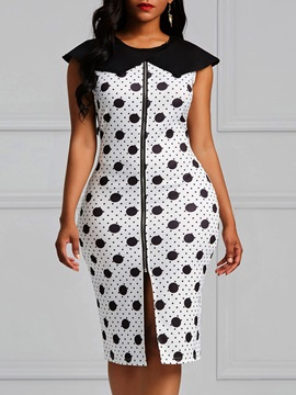 Color Block Polka Dots Women's Bodycon Dress