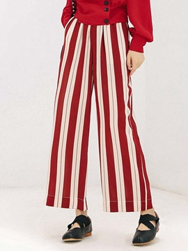 Color Block Striped Wide Legs Women's Casual Pants