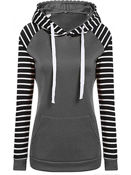 Striped Long Raglan Sleeve Color Block Women's Hoodie