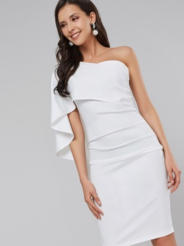 One Shoulder White Women's Bodycon Dress