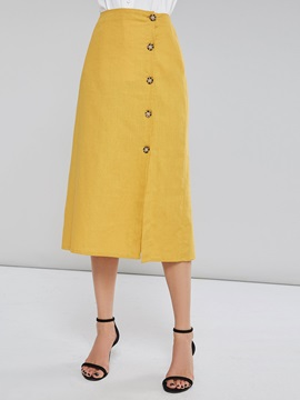 Plain Split Button A Line Women's Midi Skirt