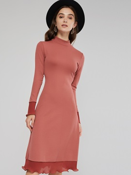 Stand Collar Falbala Women's Long Sleeve Dress