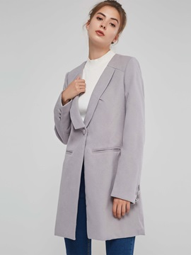 Wool Blends Mid Length Women's Overcoat