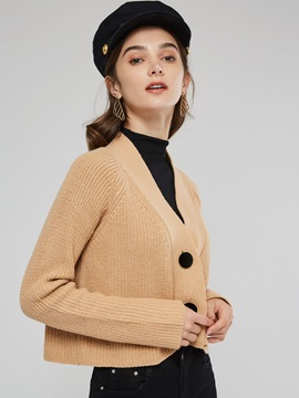 Plain Button Short Women's Knitted Cardigan