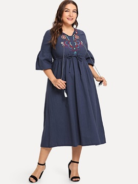 Flare Sleeve Polyester Embroidery Women's Maxi Dress
