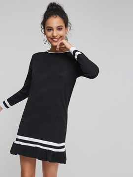 Round Neck Stripe Women's Long Sleeve Dress