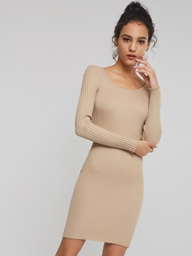 Long Sleeve Plain Simple Women's Sweater Dress