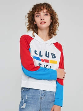 Youthful Print Color Block Short Women's Hoodie