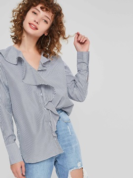 Regular Stringy Selvedge V-Neck Long Sleeve Women's Blouse