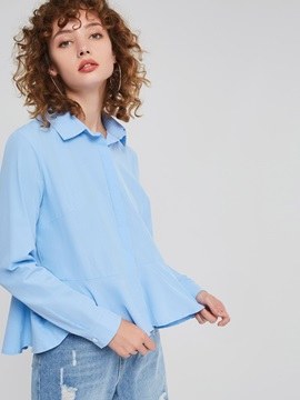 Plain Lapel Patchwork Long Sleeve Women's Blouse
