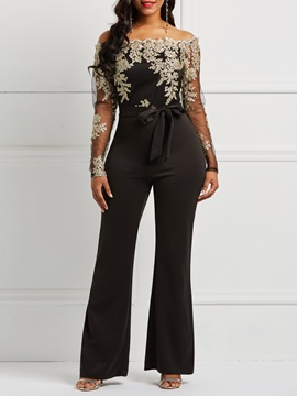 Lace Slash Neck See-Through Slim Women's Jumpsuit