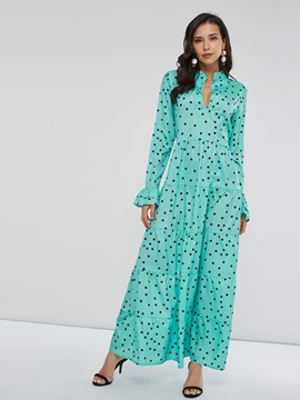 Polka Dots V-Neck Long Sleeve Women's Maxi Dress