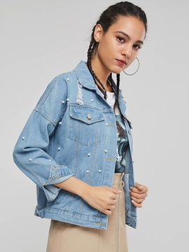 Bead Short Loose Hole Women's Denim Jacket
