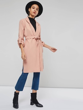 Notched Lapel Patchwork Mid-Length Long Sleeve Women's Trench Coat