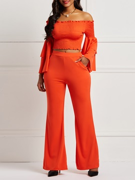 Pleated Flare Sleeve Blouse and Belllbottoms Women's Suit