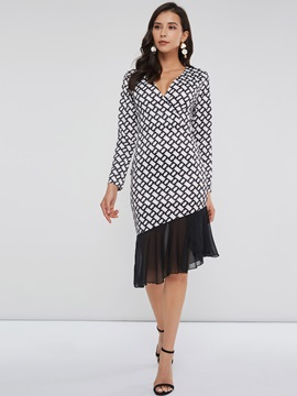 V-Neck Geometric Women's Long Sleeve Dress