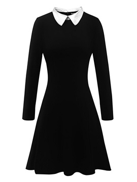 Long Sleeve Polo Neck Fall Women's A-Line Dress