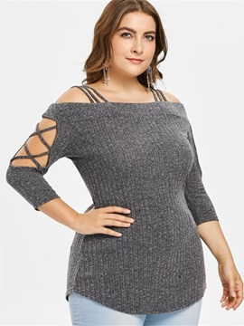 Plus Size Regular Hollow Square Neck Women's Sweater