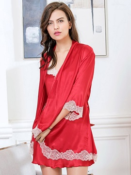 Lace Sexy Lace-Up Plain Sleepwear 2 Pieces
