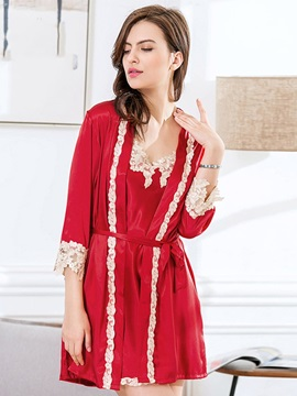 Lace Nightgown and Nine Points Sleeve 2 Pieces