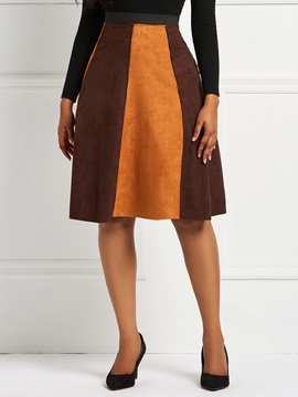Mid-Calf A-Line Patchwork Color Block Suede Skirt