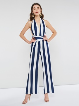 Sexy Stripe Halter Backless Wide Legs Women's Jumpsuit