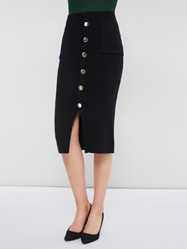 Bodycon Mid-Calf High Waist Button Plain Women's Skirt