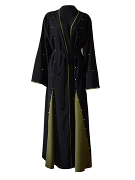 Bead Lace-Up Flare Sleeve Plus Size Women's Trench Coat