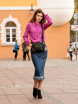A-Line Mid-Calf Tassel High Waist Denim Women's Skirt