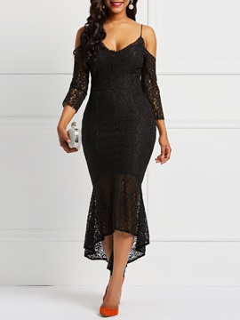 Nine Points Sleeve Sexy Women's Lace Dress