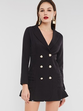 Plain Double-Breasted Notched Lapel Peplum Women's Blazer