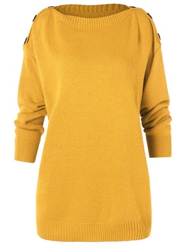 Mid-Length Plain Round Neck Women's Sweater