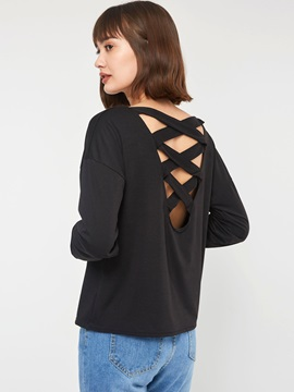 Hollow Long Sleeve Round Neck Backless Women's T-Shirt